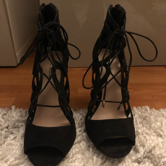 Call It Spring Shoes - Black lace up heels